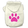 Mirage Pet Products Pink Swiss Dot Paw Screen Print Pet Hoodies Cream Size S (10)