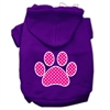 Mirage Pet Products Pink Swiss Dot Paw Screen Print Pet Hoodies Purple Size Med (12)