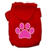 Mirage Pet Products Pink Swiss Dot Paw Screen Print Pet Hoodies Red Size Sm (10)