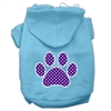 Mirage Pet Products Purple Swiss Dot Paw Screen Print Pet Hoodies Baby Blue Size Med (12)