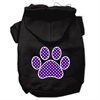 Mirage Pet Products Purple Swiss Dot Paw Screen Print Pet Hoodies Black Size XL (16)