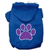 Mirage Pet Products Purple Swiss Dot Paw Screen Print Pet Hoodies Blue Size Sm (10)