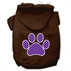 Mirage Pet Products Purple Swiss Dot Paw Screen Print Pet Hoodies Brown Size XS (8)