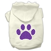Mirage Pet Products Purple Swiss Dot Paw Screen Print Pet Hoodies Cream Size XXXL(20)