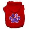 Mirage Pet Products Purple Swiss Dot Paw Screen Print Pet Hoodies Red Size Sm (10)