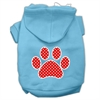 Mirage Pet Products Red Swiss Dot Paw Screen Print Pet Hoodies Baby Blue Size Sm (10)