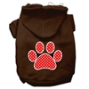 Mirage Pet Products Red Swiss Dot Paw Screen Print Pet Hoodies Brown Size Med (12)