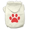 Mirage Pet Products Red Swiss Dot Paw Screen Print Pet Hoodies Cream Size S (10)