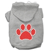 Mirage Pet Products Red Swiss Dot Paw Screen Print Pet Hoodies Grey Size XL (16)