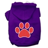 Mirage Pet Products Red Swiss Dot Paw Screen Print Pet Hoodies Purple Size Lg (14)