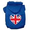 Mirage Pet Products British Flag Heart Screen Print Pet Hoodies Blue Size Sm (10)