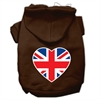 Mirage Pet Products British Flag Heart Screen Print Pet Hoodies Brown Size Sm (10)