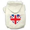 Mirage Pet Products British Flag Heart Screen Print Pet Hoodies Cream Size Sm (10)