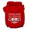 Mirage Pet Products Up to No Good Screen Print Pet Hoodies Red Size Sm (10)