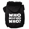 Mirage Pet Products Who Rescued Who Screen Print Pet Hoodies Black Size XS (8)
