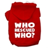 Mirage Pet Products Who Rescued Who Screen Print Pet Hoodies Red Size XS (8)