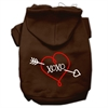 Mirage Pet Products XOXO Screen Print Pet Hoodies Brown Size Sm (10)