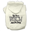 Mirage Pet Products Yes Im a Bitch Just not Yours Screen Print Pet Hoodies Cream Size XS (8)