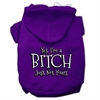 Mirage Pet Products Yes Im a Bitch Just not Yours Screen Print Pet Hoodies Purple Size XL (16)