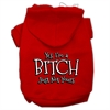 Mirage Pet Products Yes Im a Bitch Just not Yours Screen Print Pet Hoodies Red Size XS (8)