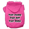 Mirage Pet Products You Come, You Sit, You Stay Screen Print Pet Hoodies Bright Pink Size M (12)