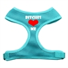 Mirage Pet Products Bitches Love Me Soft Mesh Harnesses Aqua Medium