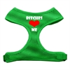 Mirage Pet Products Bitches Love Me Soft Mesh Harnesses Emerald Green Medium