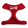 Mirage Pet Products Bone Flag USA Screen Print Soft Mesh Harness Red Large
