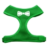 Mirage Pet Products Bow Tie Screen Print Soft Mesh Harness Emerald Green Medium