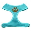 Mirage Pet Products Christmas Paw Screen Print Soft Mesh Harness Aqua Small