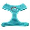 Mirage Pet Products Double Heart Design Soft Mesh Harnesses Aqua Medium