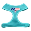 Mirage Pet Products Eagle Flag  Screen Print Soft Mesh Harness Aqua Large