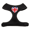 Mirage Pet Products Heart Flag UK Screen Print Soft Mesh Harness Black Small