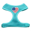 Mirage Pet Products Heart Flag USA Screen Print Soft Mesh Harness Aqua Small