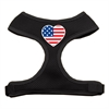 Mirage Pet Products Heart Flag USA Screen Print Soft Mesh Harness Black Extra Large