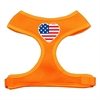 Mirage Pet Products Heart Flag USA Screen Print Soft Mesh Harness Orange Medium