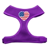 Mirage Pet Products Heart Flag USA Screen Print Soft Mesh Harness Purple Small