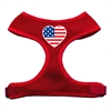 Mirage Pet Products Heart Flag USA Screen Print Soft Mesh Harness Red Small