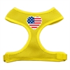 Mirage Pet Products Heart Flag USA Screen Print Soft Mesh Harness Yellow Medium