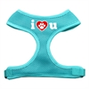 Mirage Pet Products I Love U Soft Mesh Harnesses Aqua Large