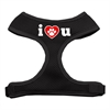 Mirage Pet Products I Love U Soft Mesh Harnesses Black Small