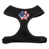 Mirage Pet Products Paw Flag USA Screen Print Soft Mesh Harness Black Small