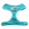 Mirage Pet Products Peace, Love, Bone Design Soft Mesh Harnesses Aqua Medium