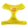 Mirage Pet Products Peace, Love, Bone Design Soft Mesh Harnesses Yellow Medium