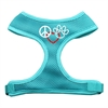 Mirage Pet Products Peace, Love, Paw Design Soft Mesh Harnesses Aqua Medium