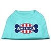 Mirage Pet Products Bonely in America Screen Print Shirt Aqua Lg (14)
