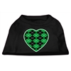 Mirage Pet Products Argyle Heart Green Screen Print Shirt Black XXXL (20)