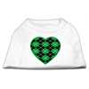 Mirage Pet Products Argyle Heart Green Screen Print Shirt White XXXL(20)