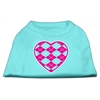Mirage Pet Products Argyle Heart Pink Screen Print Shirt Aqua XS (8)