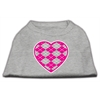 Mirage Pet Products Argyle Heart Pink Screen Print Shirt Grey XXL (18)